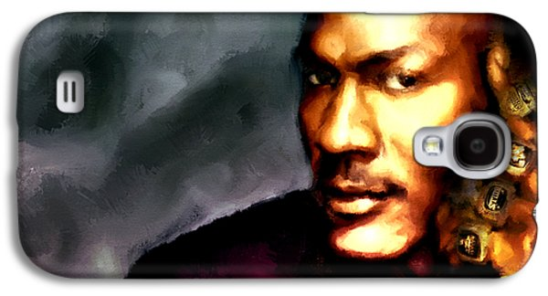 Dunk Paintings Galaxy S4 Cases - Michael Jordan Six Rings Galaxy S4 Case by Brian Reaves
