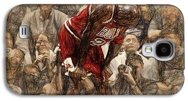Nike Paintings Galaxy S4 Cases - Michael Jordan The Flu Game Galaxy S4 Case by John Farr