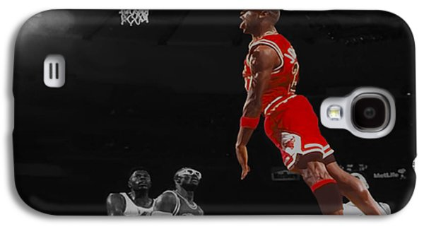 Patrick Ewing Galaxy S4 Cases - Michael Jordan Tongue Out Cradle Dunk Galaxy S4 Case by Brian Reaves