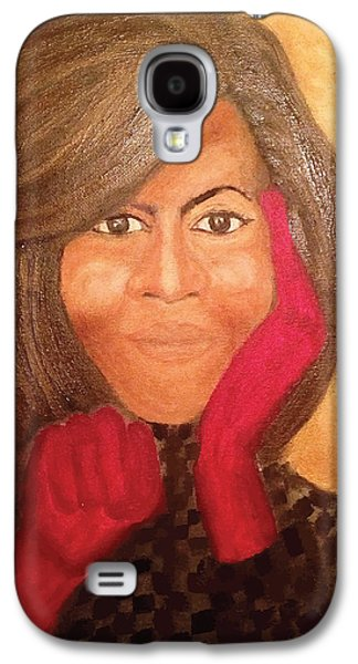 Michelle Obama Paintings Galaxy S4 Cases - Michelle Obama Galaxy S4 Case by Ginnie McKnight