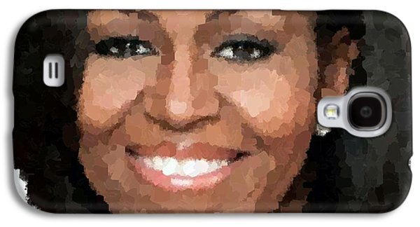 Michelle Obama Paintings Galaxy S4 Cases - Michelle Obama Galaxy S4 Case by Samuel Majcen