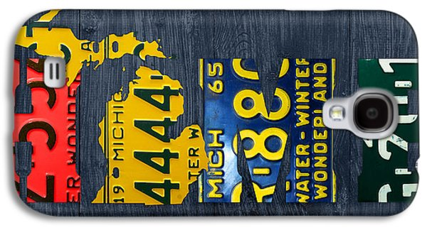 Michigan Galaxy S4 Cases - Michigan Home Recycled Vintage License Plate Art State Shape Lettering Phrase Galaxy S4 Case by Design Turnpike