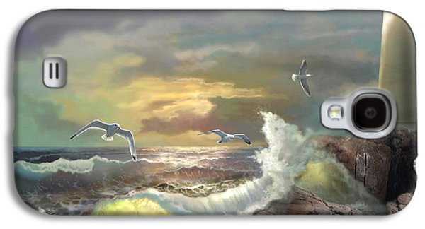 Sunset Greeting Cards Galaxy S4 Cases - Michigan Seul Choix Point Lighthouse with an Angry Sea Galaxy S4 Case by Gina Femrite