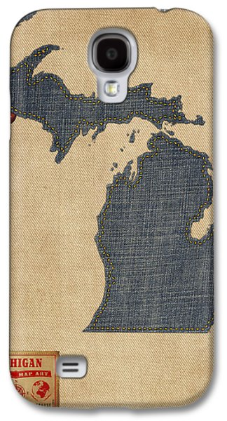 Cartography Digital Art Galaxy S4 Cases - Michigan Map Denim Jeans Style Galaxy S4 Case by Michael Tompsett