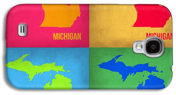 Michigan Galaxy S4 Cases - Michigan Pop Art Map 1 Galaxy S4 Case by Naxart Studio