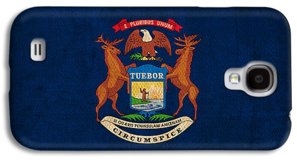 Michigan Galaxy S4 Cases - Michigan State Flag Art on Worn Canvas Galaxy S4 Case by Design Turnpike