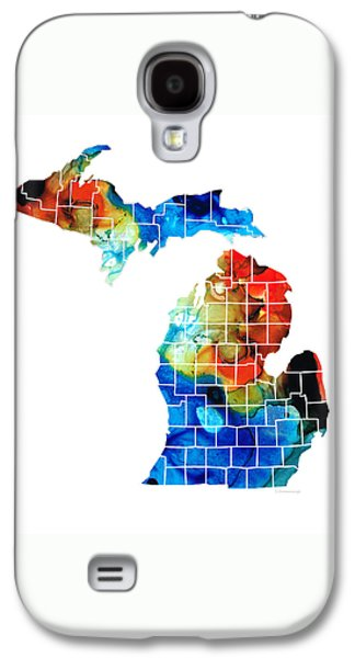 Michigan State Map - Counties By Sharon Cummings Galaxy S4 Case by Sharon Cummings