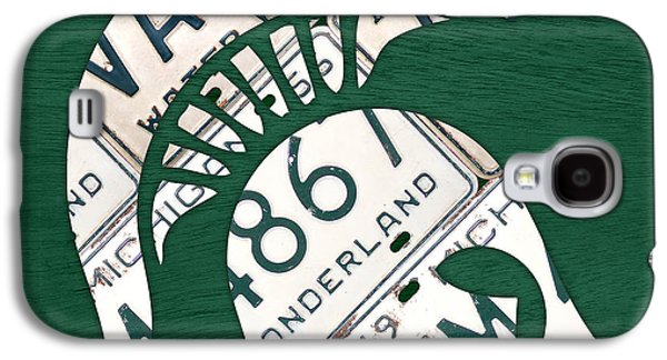States Mixed Media Galaxy S4 Cases - Michigan State Spartans Sports Retro Logo License Plate Fan Art Galaxy S4 Case by Design Turnpike