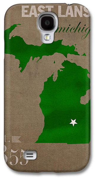 Michigan Galaxy S4 Cases - Michigan State University Spartans East Lansing College Town State Map Poster Series No 004 Galaxy S4 Case by Design Turnpike