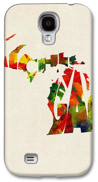 Sterling Galaxy S4 Cases - Michigan Typographic Watercolor Map Galaxy S4 Case by Ayse Deniz