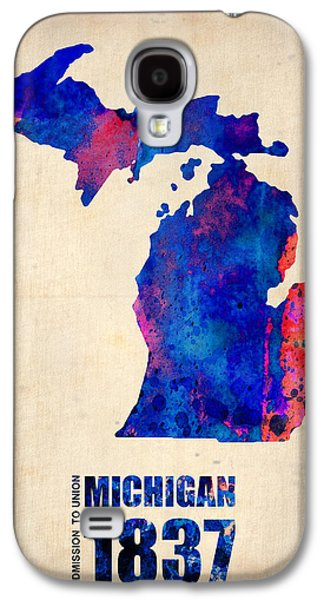 Universities Digital Art Galaxy S4 Cases - Michigan Watercolor Map Galaxy S4 Case by Naxart Studio