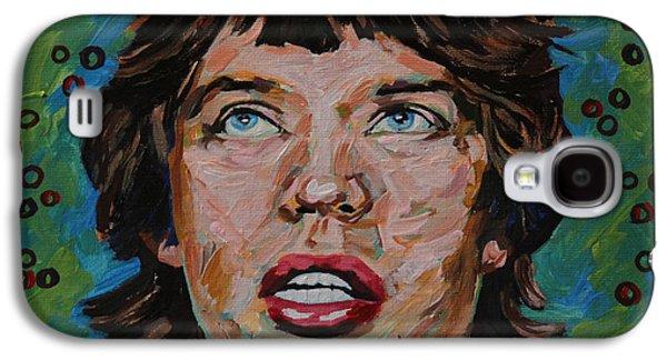Beatles Galaxy S4 Cases - Mick Jagger Portrait Galaxy S4 Case by Robert Yaeger