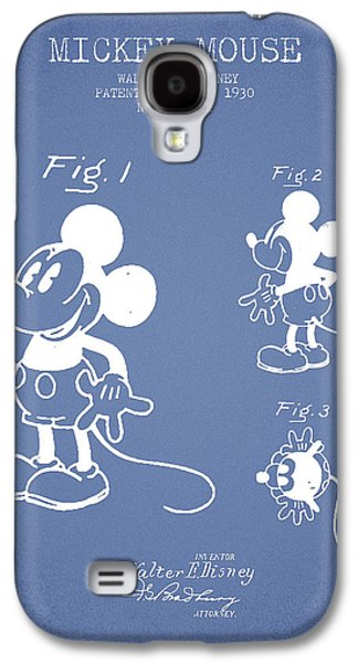Animation Galaxy S4 Cases - Mickey Mouse patent Drawing from 1930 - Light Blue Galaxy S4 Case by Aged Pixel