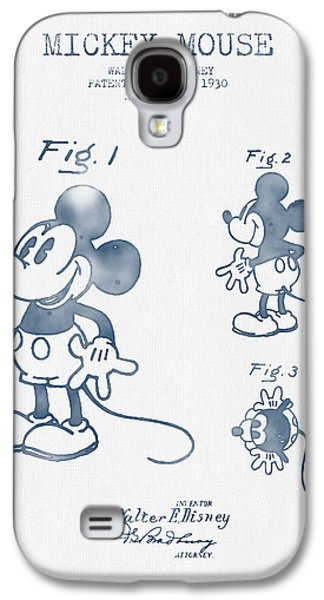 Animation Galaxy S4 Cases - Mickey Mouse patent from 1930 - Blue Ink Galaxy S4 Case by Aged Pixel