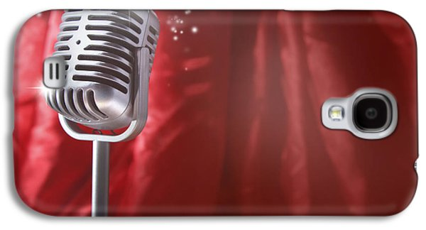 Pop Music Galaxy S4 Cases - Microphone Galaxy S4 Case by Les Cunliffe