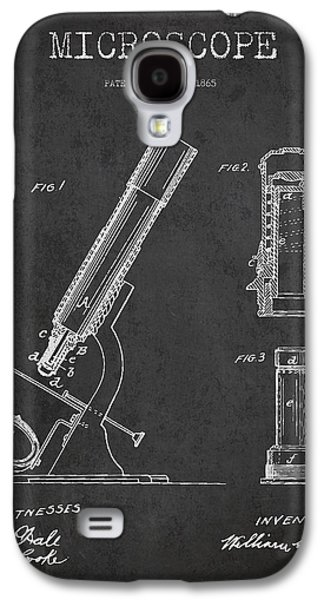 Microscope Galaxy S4 Cases - Microscope Patent Drawing From 1865 - Dark Galaxy S4 Case by Aged Pixel