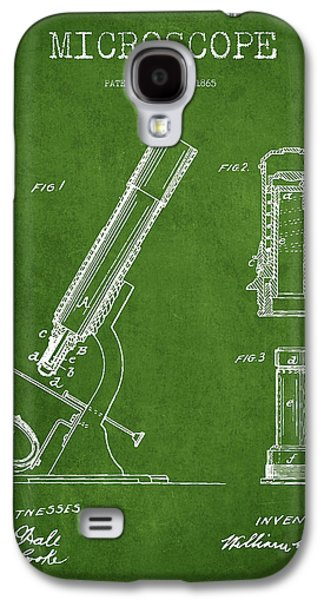 Microscope Galaxy S4 Cases - Microscope Patent Drawing From 1865 - Green Galaxy S4 Case by Aged Pixel
