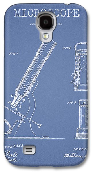 Microscope Galaxy S4 Cases - Microscope Patent Drawing From 1865 - Light Blue Galaxy S4 Case by Aged Pixel