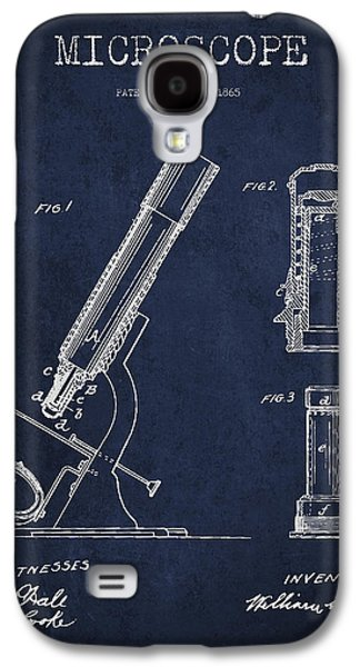Microscope Galaxy S4 Cases - Microscope Patent Drawing From 1865 - Navy Blue Galaxy S4 Case by Aged Pixel