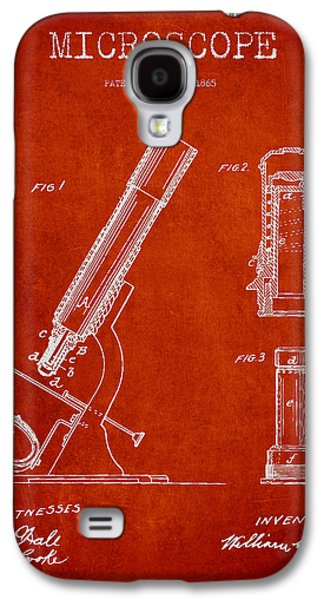 Microscope Galaxy S4 Cases - Microscope Patent Drawing From 1865 - Red Galaxy S4 Case by Aged Pixel
