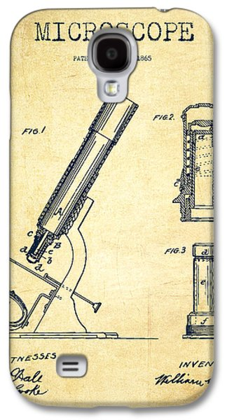 Microscope Galaxy S4 Cases - Microscope Patent Drawing From 1865 - Vintage Galaxy S4 Case by Aged Pixel