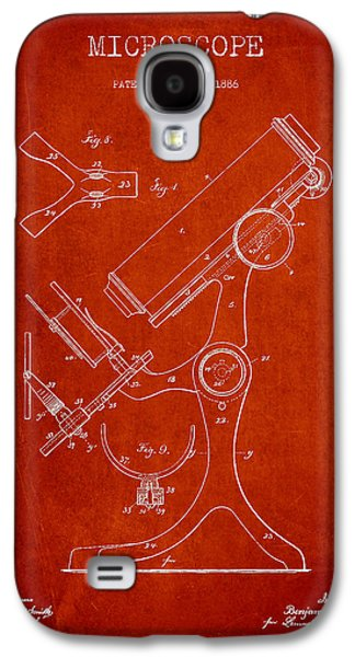 Microscope Galaxy S4 Cases - Microscope Patent Drawing From 1886 - Red Galaxy S4 Case by Aged Pixel