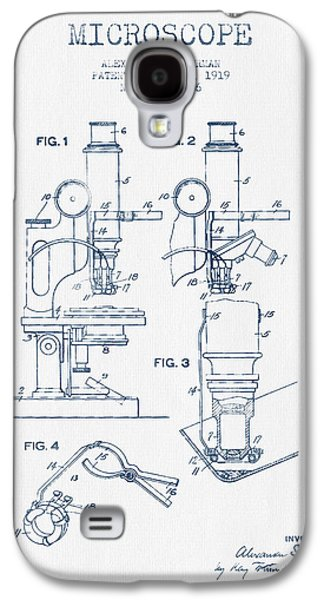 Microscope Galaxy S4 Cases - Microscope Patent Drawing From 1919 - Blue Ink Galaxy S4 Case by Aged Pixel