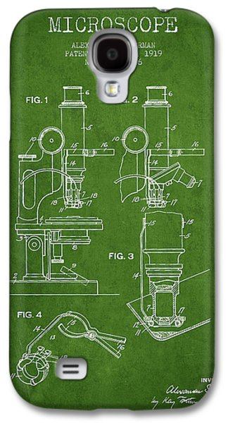 Microscope Galaxy S4 Cases - Microscope Patent Drawing From 1919- Green Galaxy S4 Case by Aged Pixel