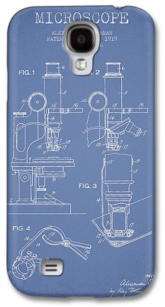 Microscope Galaxy S4 Cases - Microscope Patent Drawing From 1919- Light Blue Galaxy S4 Case by Aged Pixel