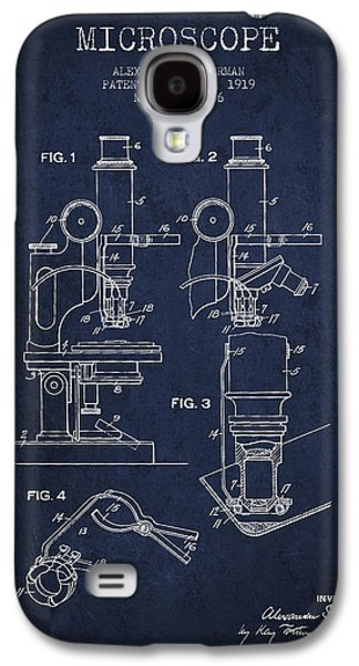 Microscope Galaxy S4 Cases - Microscope Patent Drawing From 1919- Navy Blue Galaxy S4 Case by Aged Pixel