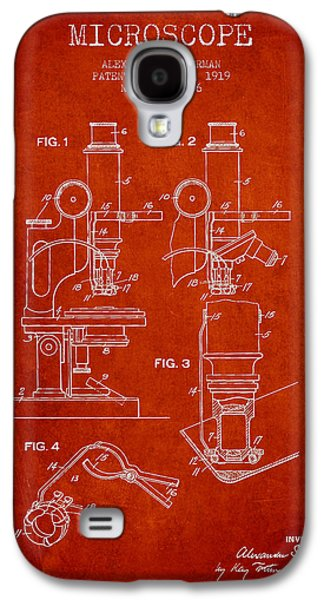 Microscope Galaxy S4 Cases - Microscope Patent Drawing From 1919- Red Galaxy S4 Case by Aged Pixel
