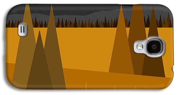 Color Block Galaxy S4 Cases - Midnight Gold Galaxy S4 Case by Val Arie