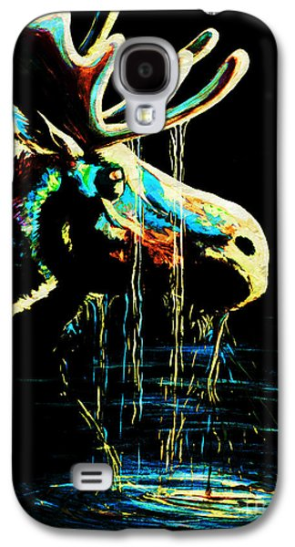 Drips Paintings Galaxy S4 Cases - Midnight Moose Drool  Galaxy S4 Case by Teshia Art