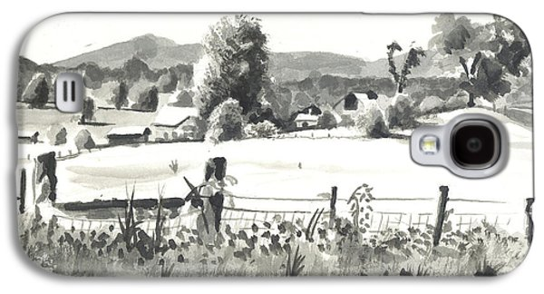 Fence Drawings Galaxy S4 Cases - Midsummer View Out Route JJ   No I101 Galaxy S4 Case by Kip DeVore