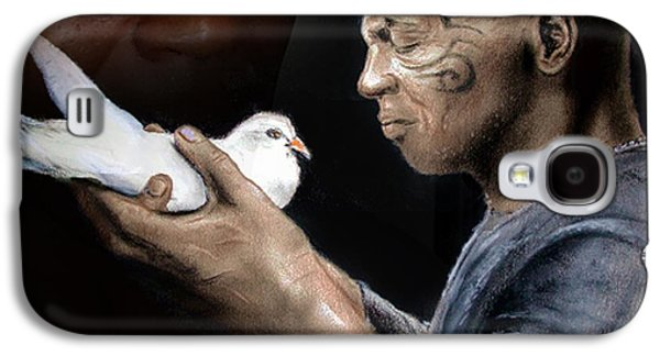 Boxer Galaxy S4 Cases - Mike Tyson and Pigeon II Galaxy S4 Case by Jim Fitzpatrick