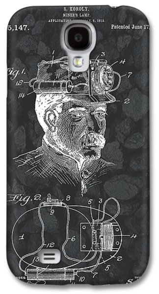 Working Mixed Media Galaxy S4 Cases - Miners Lamp Patent On Coal Galaxy S4 Case by Dan Sproul