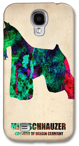 Pet Digital Art Galaxy S4 Cases - Miniature Schnauzer Poster 2 Galaxy S4 Case by Naxart Studio