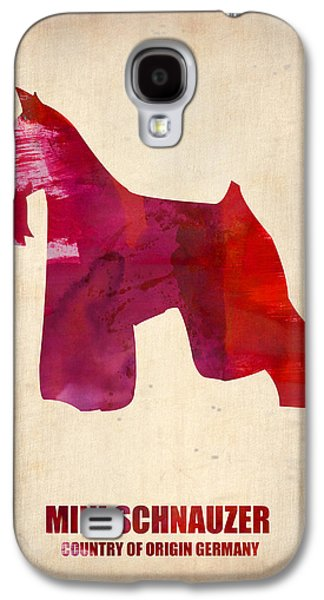 Pet Digital Art Galaxy S4 Cases - Miniature Schnauzer Poster Galaxy S4 Case by Naxart Studio