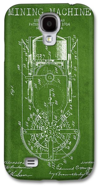 Machinery Galaxy S4 Cases - Mining Machine Patent From 1914- Green Galaxy S4 Case by Aged Pixel
