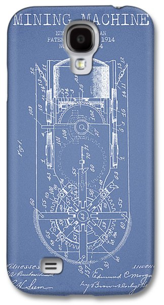 Machinery Galaxy S4 Cases - Mining Machine Patent From 1914- Light Blue Galaxy S4 Case by Aged Pixel