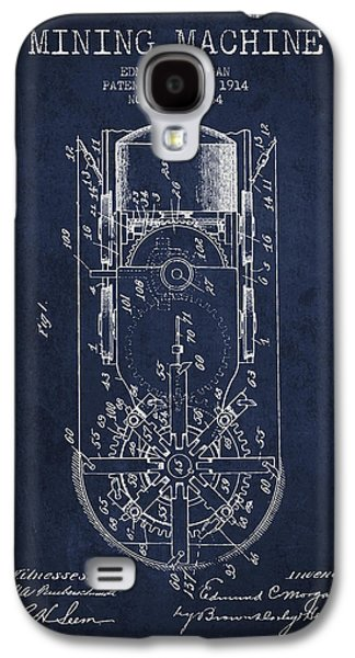 Machinery Galaxy S4 Cases - Mining Machine Patent From 1914- Navy Blue Galaxy S4 Case by Aged Pixel