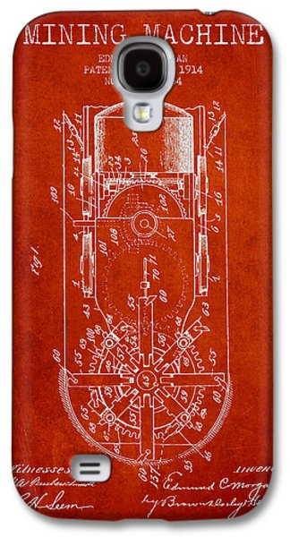 Machinery Galaxy S4 Cases - Mining Machine Patent From 1914- Red Galaxy S4 Case by Aged Pixel