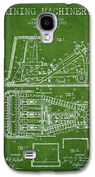 Machinery Galaxy S4 Cases - Mining Machinery Patent From 1915- Green Galaxy S4 Case by Aged Pixel
