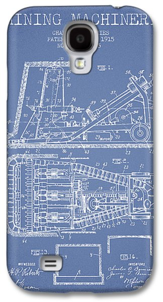 Machinery Galaxy S4 Cases - Mining Machinery Patent From 1915- Light Blue Galaxy S4 Case by Aged Pixel