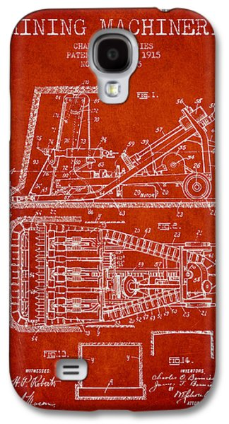 Machinery Galaxy S4 Cases - Mining Machinery Patent From 1915- Red Galaxy S4 Case by Aged Pixel