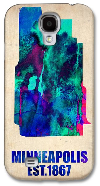 Maps Paintings Galaxy S4 Cases - Minneapolis Watercolor Map Galaxy S4 Case by Naxart Studio