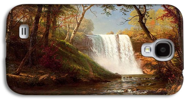 Snow Scene Landscape Paintings Galaxy S4 Cases - Minnehaha Falls Galaxy S4 Case by Albert Bierstadt