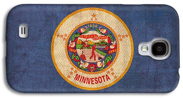 Minnesota Galaxy S4 Cases - Minnesota State Flag Art on Worn Canvas Galaxy S4 Case by Design Turnpike