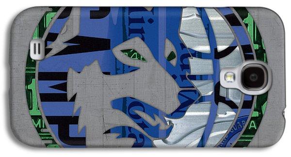 Minnesota Galaxy S4 Cases - Minnesota Timberwolves Basketball Team Retro Logo Vintage Recycled Minnesota License Plate Art Galaxy S4 Case by Design Turnpike