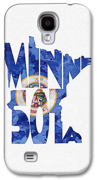 Minnesota Galaxy S4 Cases - Minnesota Typographic Map Flag Galaxy S4 Case by Ayse Deniz